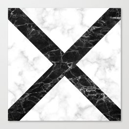 marble cross pattern - white marble black marble Canvas Print