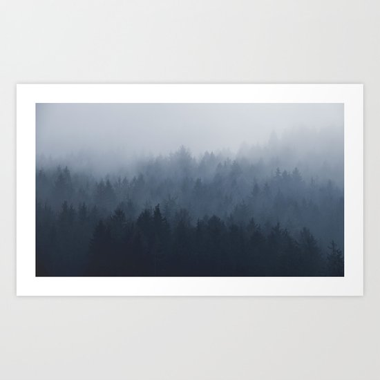 Fog in the forest Art Print