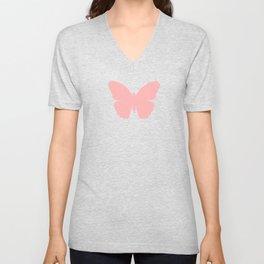 Pink Butterfly Design Unisex V-Neck