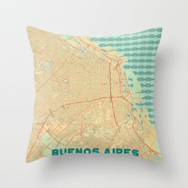 Buenos Aires Map Retro Throw Pillow