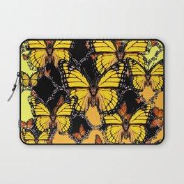 BLACK-GOLDEN YELLOW BUTTERFLIES ART Laptop Sleeve