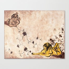 Children Drawing Flowers Painting Canvas Print