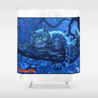 cheshire cat Shower Curtains featuring Cheshire Cat by Tom C Carlton