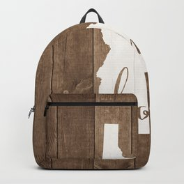 Idaho is Home - White on Wood Backpack