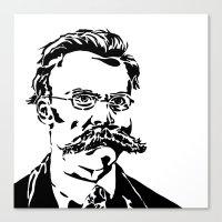 nietzsche Canvas Prints featuring Friedrich Nietzsche by Joshua M. Paschal