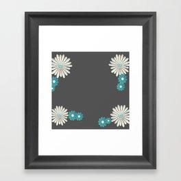 Gray,blue flowers Framed Art Print