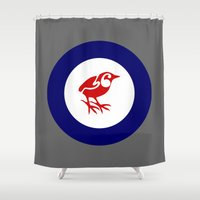 maori Shower Curtains featuring Rockwren Air Force Roundel by mailboxdisco