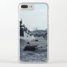 Russian Navy Battleships with passenger boats on Neva River. Clear iPhone Case