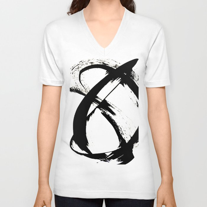Brushstroke 7: a minimal, abstract, black and white piece Unisex V-Ausschnitt