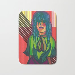 Color Blind - Bright Colorful Surreal Portrait of Woman, Painting Bath Mat