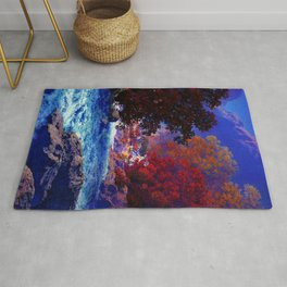 Swift Water River and Autumn Red Leaves by Maxfield Parrish Rug
