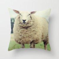 sheep Throw Pillows featuring Sheep by Falko Follert Art-FF77