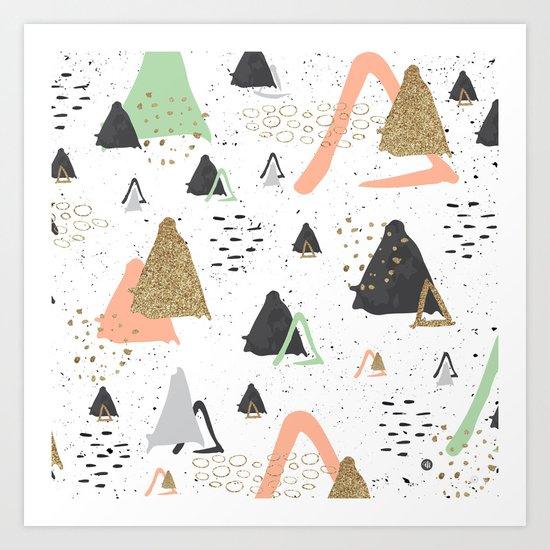 Triangles & textures watercolor Art Print