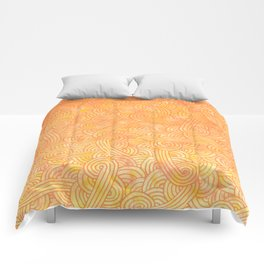 Ombre yellow and orange swirls doodles Comforters