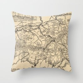 Vintage Great Smoky Mountains National Park Map (1941) Throw Pillow