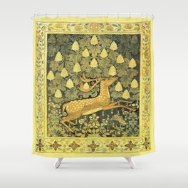 A Deer, A Rabbit and A Leafy Chestnut Tree Shower Curtain