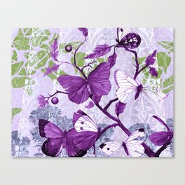 Purple Butterflies on a Branch Vintage Floral Canvas Print