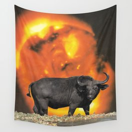 buffalo sun | 1970s SciFi Paper Collage Analog | Bison | Solar Outer Space Psychedelic Funny Wall Tapestry