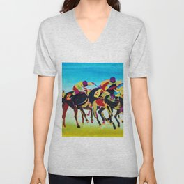 AT THE RACES              by  Kay Lipton Unisex V-Neck