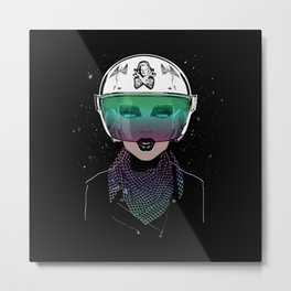Let Me In Dude - Biker Girl Portrait Helmet Metal Print
