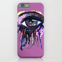 Rainbow eye splashing watercolor and ink iPhone Case