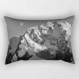 Moon Over Pioneer Peak B&W Rectangular Pillow