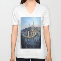 pittsburgh V-neck T-shirts featuring PITTSBURGH CITY by Stephanie Bosworth
