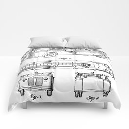 Fire Truck Patent - Aerial Fireman Truck Art - Black And White Comforters