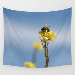 Honey bee on a wildflower Wall Tapestry