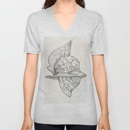 Roman helmet. Zentangle stylized. Vector illustration. Pattern. Unisex V-Neck