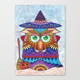 Whimscal Baby Owl in Egg Halloween Theme Canvas Print
