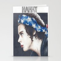 harry styles Stationery Cards featuring harry styles  by LexxieD
