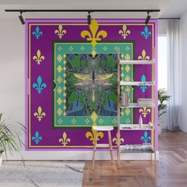 Yellow Dragonfly Purple Fleur de Lys Abstract Wall Mural