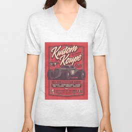 Vintage Style Fictional Halloween Hot Rod Show - Red Unisex V-Neck