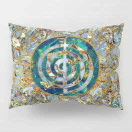 Choku Rei Symbol in Mandala on Marble and Gold Pillow Sham