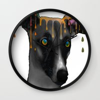 greyhound Wall Clocks featuring Greyhound BW by Marlene Watson