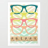 preppy Art Prints featuring Preppy by BlytheStarlight