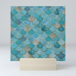 Moroccan Fish Scale Mermaid Pattern, Teal Blue and Gold Mini Art Print