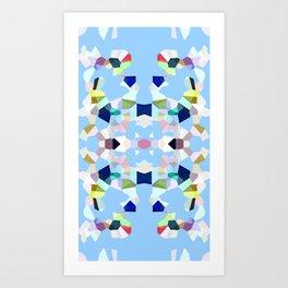 Gemstones in Kaleidoscope on Sky Blue Art Print
