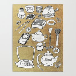 Chinese Tea Doodle 1 Poster