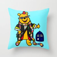 pooh Throw Pillows featuring Doctor Pooh by Murphis the Scurpix