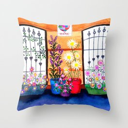 Jade's windows Throw Pillow