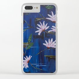 Abstract Blue With White Flowers Clear iPhone Case