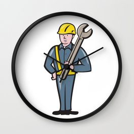 Construction Worker Spanner Isolated Cartoon Wall Clock
