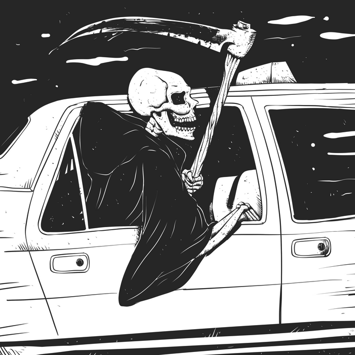 Passenger taxi grim - black and white - gothic reaper Comforters