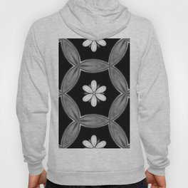 black and white hippie flower pattern Hoody