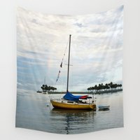 sailboat Wall Tapestries featuring Sailboat Rainbow by kelly*n photography