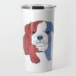English Bulldog Puppy (red/white/blue) Travel Mug
