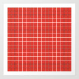 CG red - red color -  White Lines Grid Pattern Art Print
