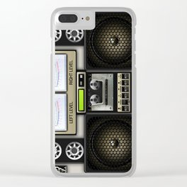 Retro Music Boombox Clear iPhone Case